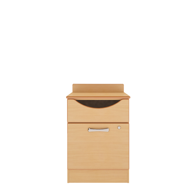 Drawer and lockable door bedside cabinet